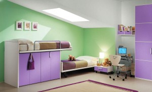 An Inspiring Green And Purple Kids Bedroom