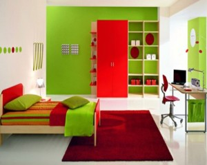 The Green And Red Teen Bedroom